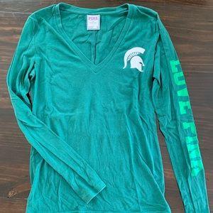 VS PINK L/S Green MSU (Michigan State) shirt